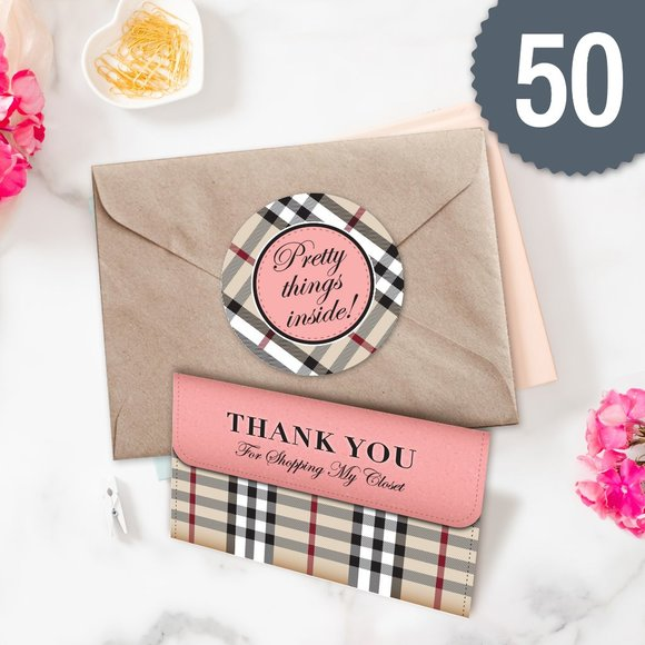 designme office  plaid thank you card sticker combo 5